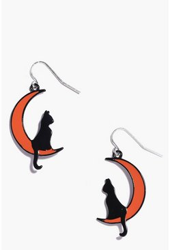 Black Halloween Cat Moon Earrings