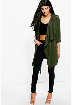 Khaki Amelie Collared Waterfall Belted Duster