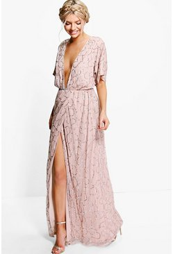 Rose pink Boutique Sequin Plunge Maxi Bridesmaid Dress