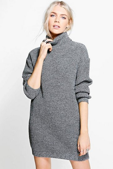 Black Jessica Fisherman Roll Neck Jumper Dress