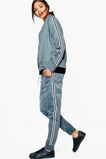 Grey Eva Fit Sports Luxe Tracksuit Bottoms