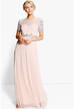 Blush Boutique Beaded Maxi Bridesmaid Dress