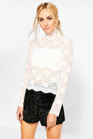 Ivory white Lola All Over Lace High Neck Top