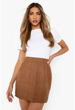 Tan brown Woven Soft Suedette A Line Mini Skirt