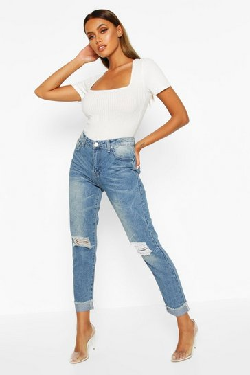 Mid blue blue Mid Rise Marble Wash Mom Jeans