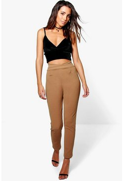 Camel beige Basic High Waist Crepe Skinny Stretch Pants