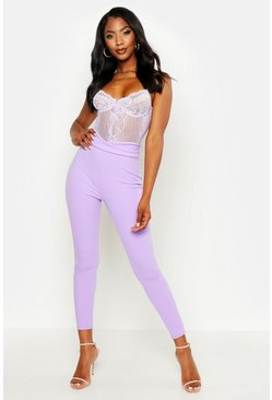 Lilac purple Basic High Waist Crepe Skinny Stretch Trousers