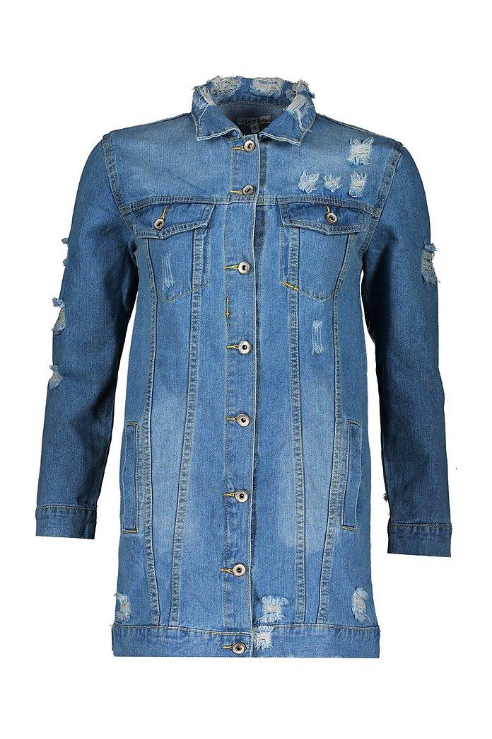 Lång jeansjacka med slitna detaljer | boohoo SE