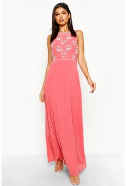 Coral Floral Embellished Maxi Bridesmaid Dress
