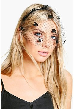 Black Halloween Spider Veil Headband
