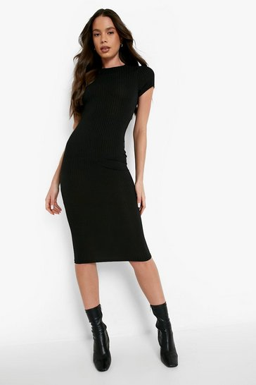 Black Cap Sleeved Ribbed Bodycon Dress
