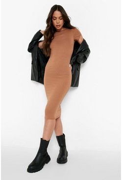 Camel beige Cap Sleeved Ribbed Bodycon Dress
