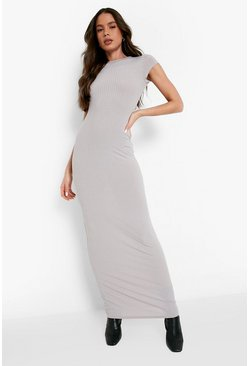 Grey Cap Sleeved Ribbed Bodycon Dress