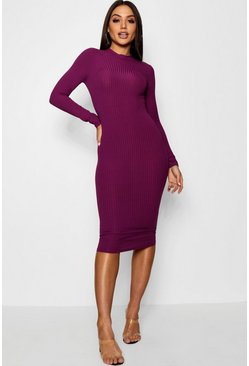 Black plum purple Ribbed High Neck Long Sleeved Midi Dress