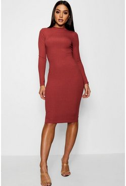 Chestnut brown Ribbed High Neck Long Sleeved Midi Dress