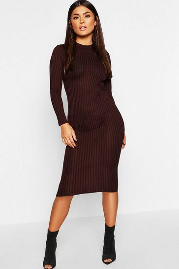 Chocolate brown Ribbed High Neck Long Sleeved Midi Dress