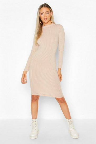 Stone beige Ribbed High Neck Long Sleeved Midi Dress