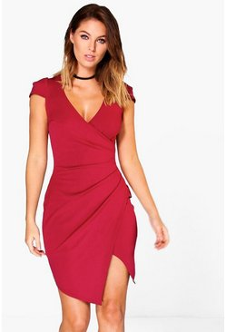 Berry Cap Sleeved Wrap Detail Bodycon Dress