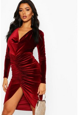 Berry red Cowl Neck Velvet Draped Midi Dress