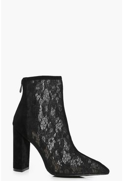 Black Lara Pointed Lace Block Heel Boot