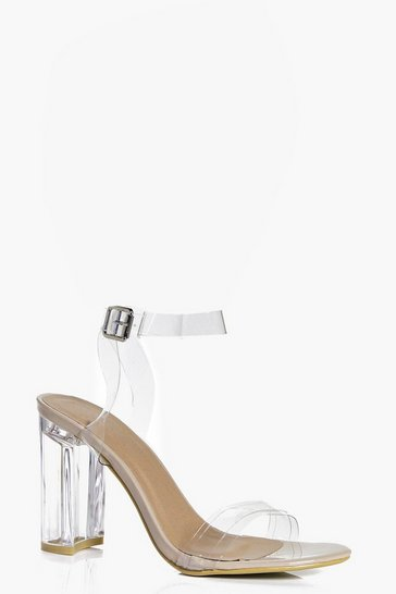 Nude Maisy Two Part Clear Block Heel