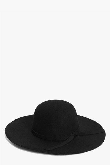 Black Ribbon Trim Floppy Hat