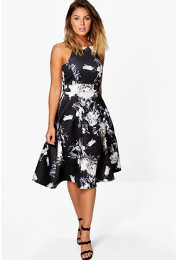 Black Floral Strappy Midi Skater Dress