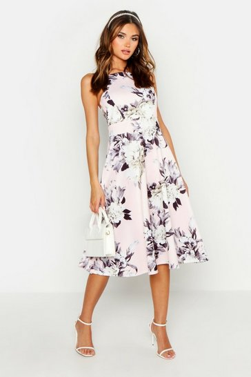 Blush pink Floral Strappy Midi Skater Dress