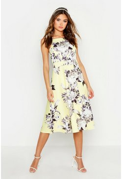 Yellow Floral Strappy Midi Skater Dress