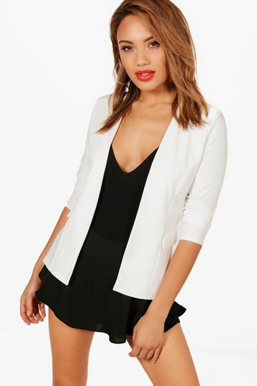 Ivory white Collarless Blazer