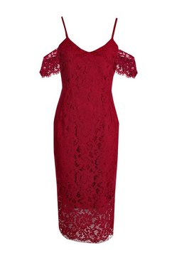 Berry Lace Open Shoulder Midi Dress