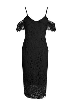 Black Lace Open Shoulder Midi Dress