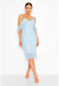 Pastel blue blue Lace Open Shoulder Midi Dress