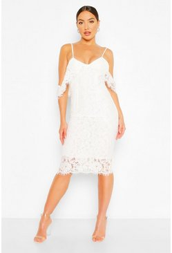 White Lace Open Shoulder Midi Dress