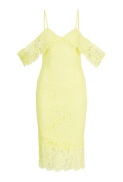Yellow Lace Open Shoulder Midi Dress