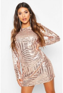 Rose pink Boutique  Sequin Mesh Bodycon Dress