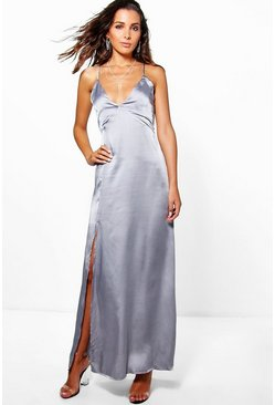 Silver Perrie Satin Strappy Seam Detail Slip Dress