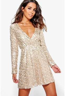 Gold metallic Boutique  Sequin Wrap Skater Dress
