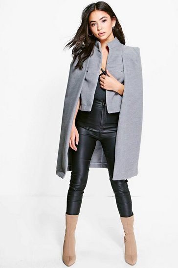 Grey Ava Wool Look Cape Coat