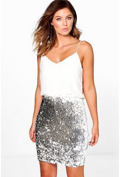 Silver Boutique Sequin Skirt 2 in 1 Bodycon Dress