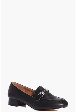 Black Katie Metallic Trim Loafer Flat