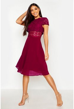 Berry red Lace Top Chiffon Skater Dress