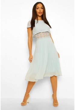 Blue Lace Top Chiffon Skater Dress