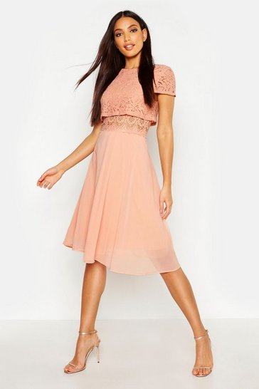 Blush pink Lace Top Chiffon Skater Dress