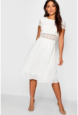 White Lace Top Chiffon Skater Dress