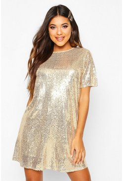 Gold metallic Boutique T-shirtklänning med paljetter