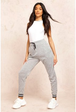 Grey Basic Mono Cuff Knitted Joggers