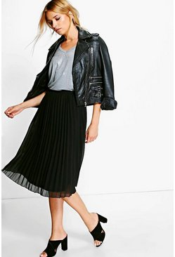 Black Chiffon Pleated Midi Skirt