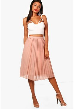 Sand Chiffon Pleated Midi Skirt