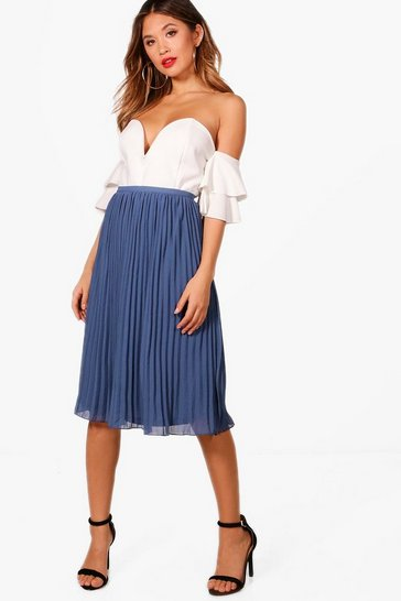 Vintage blue blue Chiffon Pleated Midi Skirt